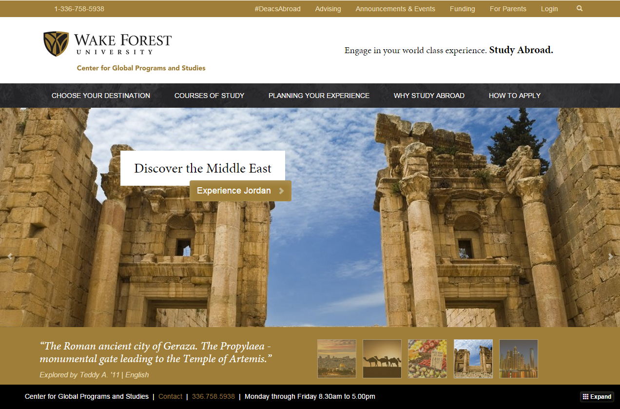 Wake Forest Study Abroad Site Redesign